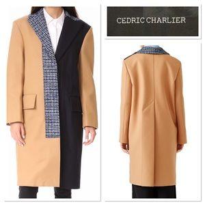 Cedric Charlier Aeffe Spa long coat color block 6
